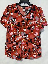 "Scrubstar Women's Disney Mickey ""Mickey Love Letter"" V-Neck Print Scrub"