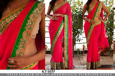 Bollywood Designer Party Wear Pink  Color Designer Border Saree