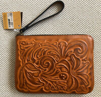 $79 Patricia Nash CASSINI Burnished Tooled GOLD Wristlet Genuine Leather NWT!