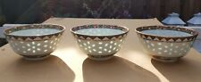 3 Chinese Famille Rose Rice Eyes Bowls Guilded Cups with Flowers Vintage Antique