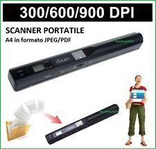 ISCAN SCANNER PORTATILE WIRELESS CMOS HD 900DPI A4 A5 FORMATI JPG PDF