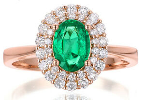0.80ct Natural Round Diamond 14k Solid Rose Gold Emerald Cluster Ring Size 7
