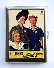 World War 2 Poster Cigarette Case Wallet Business Cards Soldiers without Guns