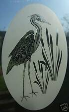 HERON Etched Glass Window Decoration / Window Film / Static Cling 38x58cm