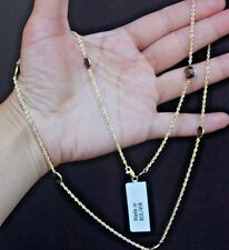 "Brand New 10k Gold Smoky Quartz Topaz Station Necklace 24"" 9ct By the Yard"