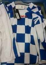 Stock KIT CALCIO LEGEA  modello scacchi adulto taglia M colore azzurro -bianco