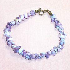 "Sea shell bead bracelet curly purple 7"" B6"