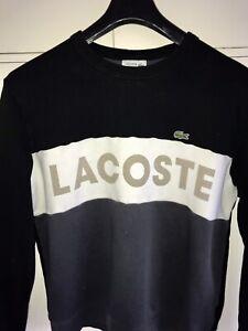 LACOSTE Sport Cotton Script Front Colour Block Crew Neck Sweatshirt. Large Boxy