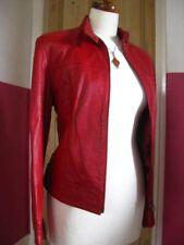 size UK 16 14 Ladies M&S red real leather BIKER JACKET Large cafe racer