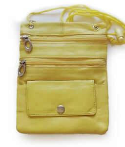 Yellow Leather Passport ID Holder Zip Pouch Bag Wallet Neck Strap US SELLER