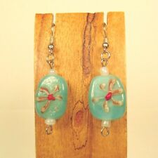 "1"" Aqua Blue Color Lampwork Painted Flower Glass Handmade Drop Dangle Earring"
