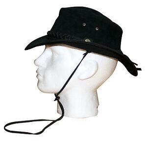 NEW Australian Leather Bush Hat Cowboy Hat Black Waterproof Showerproof strap