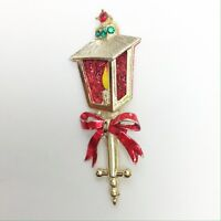 Vintage Red Green Candle Lamp Christmas Enamel Jeweled Brooch Holiday Gold Pin