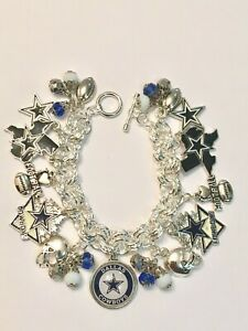 Dallas Cowboys Silver Multi Link Chain Charm Bracelet, Custom Charms