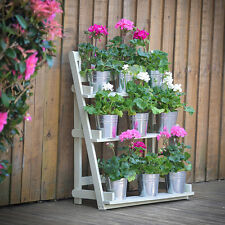 Wooden Garden Plant Display Stand 3 Tier Shelf Rack Theatre Flowers Sage Storage