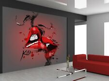 Kissing Lips   Photo Wallpaper Wall Mural DECOR Paper Poster Free Paste