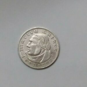 Germany Uncirculated 1933  Martin Luther Silver 2 Reichsmark