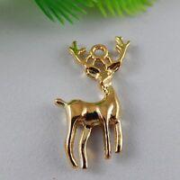 40pcs Gold Tone Enamel Alloy Tiny Moose Elk Pendants Charms Finding Craft 51834