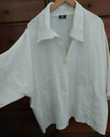 "Linen jacket AKH Lagenlook Natural White jacket blouse 16 18 20 22 chest 66"""