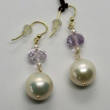 YELLOW GOLD EARRINGS 18K 750 PEARLS FRESHWATER AND AMETHYST PINK MADE IN ITALY