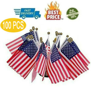Small American Flags On Stick-Lots Of 100 Mini US Flag July 4th Decoration