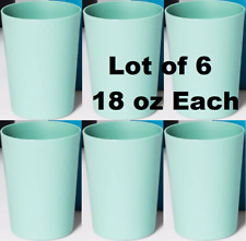Lot Of 6 Plastic 18 oz Short Tumbler Green Drinking Glasses