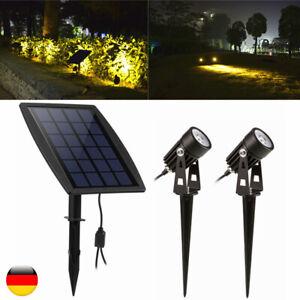 LED Solarleuchte Strahler Solarstrahler Gartenlampe Spot Licht Erd-Spieß IP65 DE