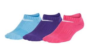 Nike Girls Performance Lightweight No-Show Training Sock M  (3 Pair)YTH 5Y-7Y