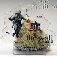"""AUTHENTIC PIECE OF BERLIN WALL with CERTIFICATE Conrad Schumann """"Jumper"""" Design"""