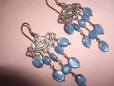ORECCHINI PENDENTI EARRINGS CIANITE BLU STERLING ARGENTO 925 GANCIO ETNICO SILVE
