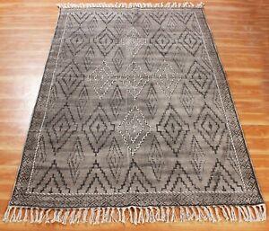 Bohemian Block Printed handmade Cotton Dhurrie Area Rug Flatweave Kilim 3x5 NEW
