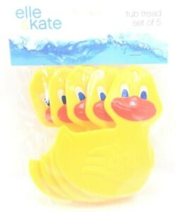 Elle & Kate Yellow Duck Suction Cups Tub Tread Non Slip Safety For Bathtub 5 PCS