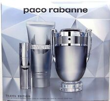 Invictus by Paco Rabanne 3.4 EDT Spray +3.4 S/Gel+10 ml.Travel Set for Men. NIB.