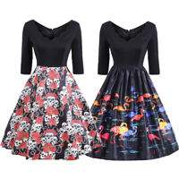Vintage Skull Print Hell Bunny Swing Dress Plus Size 50's Retro Rockabilly Party
