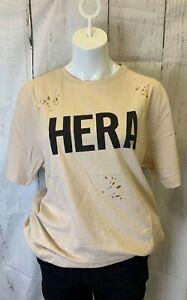 HERA LONDON *BNWT* Ripped pattern Stone short sleeve t-shirt, black logo Size L