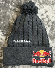 RED BULL ATHLETE ONLY BEANIE POM - CHARCOAL KNIT - HAT - CAP - RARE