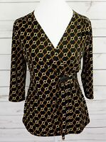 Charter Club Top Womens Small S Black V-Neck 3/4 Sleeve Fitted Dressy Blouse