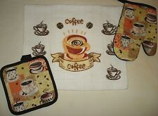 Coffee Cups Beans Kitchen Home Decor 3 piece set -Oven Mitt,Towel and Pot H