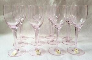 Sasaki Japan Crystal Set of 12 Pink Coral Hampton Cordial Glasses