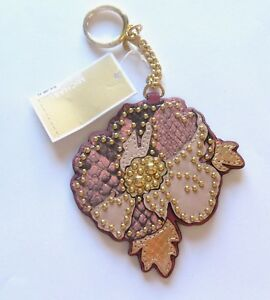 Michael Kors Leather Charms Spring Poppy Key Fob/Ring pink beige gold flower