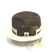 Steven Land Men's Dark Brown Ivory Fedora Hat Signature Collection Sizes S -XL