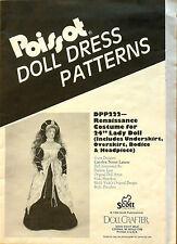 """Poissot Doll Dress Patterns Dpp222 Renaissance Costume for 24"""" Lady Doll - Uncut"""