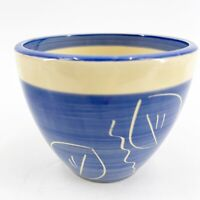 Vintage Glazed Pottery Planter Pot Hand Decorated Blue Abstract Leaf Design 4""