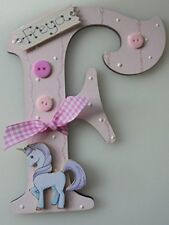 UNICORN Personalised *ANY LETTER & NAME* kids Room Door Sign Plaque BABY PINK