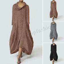 Women Buttons Down Asymmetrical Shirt Dress Irregular Loose Midi Dress Plus Size