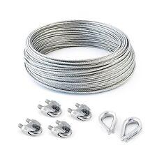 SET 50m cable 5mm acier inox cordage torons
