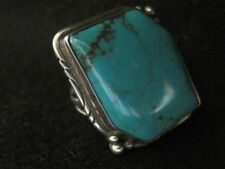 "Large Vint. Navaj ""Big Green"" MORENCI Turquoise Sterling Silver Ring~by L SMILEY"
