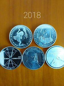 5 x 20 Euro Silber Münzen Komplettsatz BRD 2018