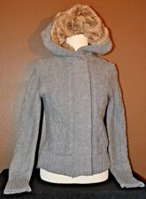 American Eagle Outfitters Women's M Gray Knit Sweater Hoodie Full Zip Snap Close