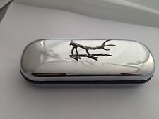 A58 Red Stag Antler  Motif On a Chrome Glasses Case